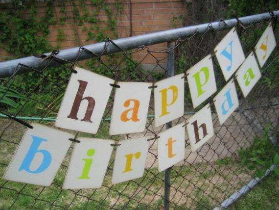 Birthday Decoration Retro HAPPY BIRTHDAY Banner