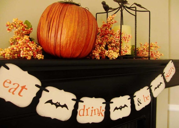 halloween decoration EAT DRINK & be SCARY painted banner sign garland