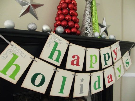 holiday decorations- Happy Holidays banner- Christmas sign- holiday garland- Chirtmas card photoprop
