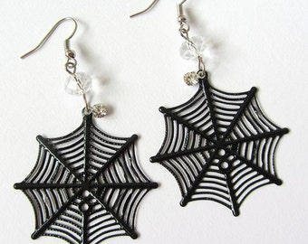 Clear Spider Web Crystal Earrings