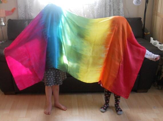 Big Rainbow Play Silk, 44x72 inches, Waldorf, scarf, sarong, veil