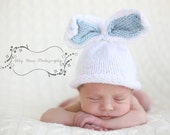 Super- Soft- Hand-Knit Bunny BaBy Hat ---- 2 Sizes - BLUE EaRs for BoYs
