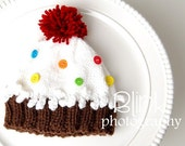 Made to Order...Hand-Knit Cupcake HAT with sprinkles.... for TODDLERS 12 months to 3 Years