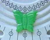 Green jade semi precious stone butterfly focal beads or pendants