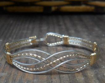 Infinity Bracelet, Handcrafted Wire bracelet, sterling silver, 14kt gold filled, bangle,