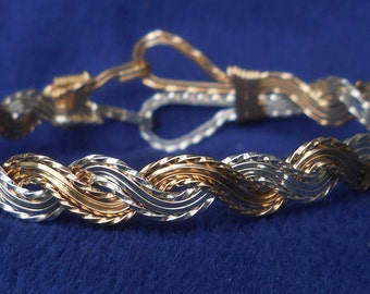 Gold and Silver Bangle, sister gift, gold filled, sterling silver, OOAK, Sale