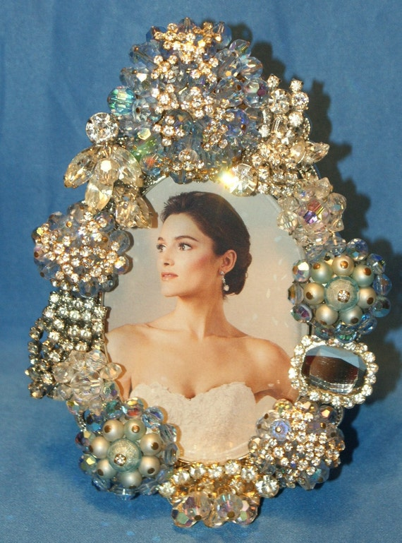 Sparkling Baby Blue Crystal and Rhinestone Jeweled Picture Frame OOAK