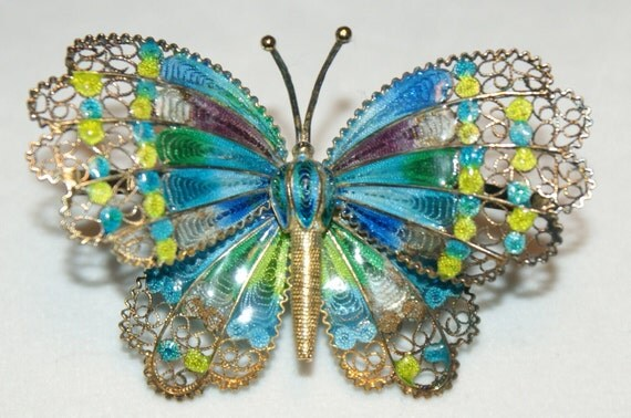 Big Beautiful Blue and Green Antique Sterling Silver & Enamel Vermeil Filigree Butterfly Brooch Pin