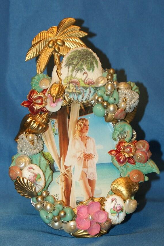 Tropical Flamingo and Seashell Jeweled Rhinestone Picture Frame OOAK