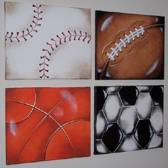 Items Similar To SPORTS BALLS Wall Art Paintings 16X20 In