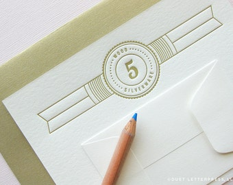 letterpress fifth anniversary card