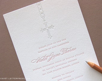 letterpress baptism / christening / first communion invitations