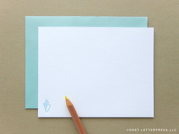 letterpress sea shell note cards