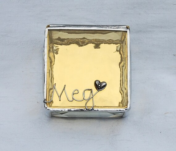 Personalized Stained Glass Ring Box 2x2x1