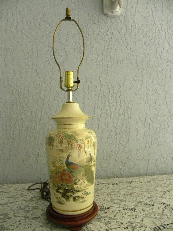 Vintage Asian Style Table Lamp Peacock Motif