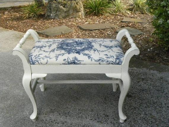Reserved For Ariana Hand Painted Vintage Vanity Stool Vanity