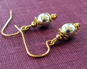 Tiny Gold and Silver Dangle Earrings