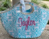 Blue Scroll Insulated Cooler Tote Personalized Monogrammed Great for Bridesmaids