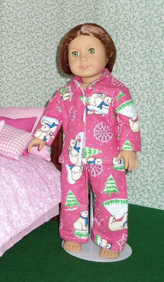 Pink Polar Bear Flannel Pajamas