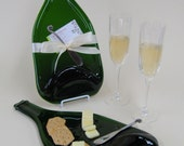Recycled Melted Champagne Bottle Cheese Tray - Huge Platter for Cheese and Crackers