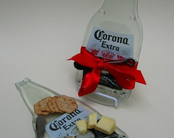 Melted Bottle Cheese Plate Large Corona - Upcycled / Recycled Glass Bottle Mexican Beer by Mitchell Glassworks