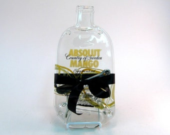 Absolut Mango Melted Bottle Cheese Plate - Upcycled / Recycled Glass