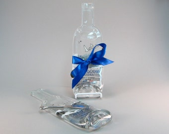Small Grey Goose Melted Bottle Spoon Rest /  Cheese Plate -  Recycled Eco Friendly Glass