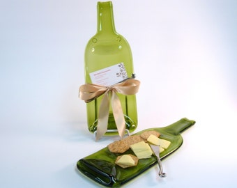 Melted Bottle Cheese Tray Light Green Glass- Upcycled / Recylced Slumped Glass Wine Bottle