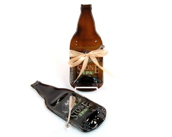 Stone IPA Melted Bottle Cheese Tray (Large) - Upcycled / Recycled Eco Friendly Gift by Mitchell Glassworks