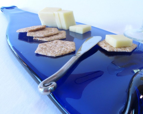 Really Tall and Fantastic Cobalt Blue Melted Bottle Cheese Tray / Something Blue Wedding Gift / Wine and Cheese Bridal Shower Present