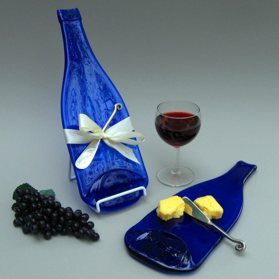Housewarming Gift Cobalt Blue Melted Bottle Cheese Plate - Upcycled Recycled Glass Platter