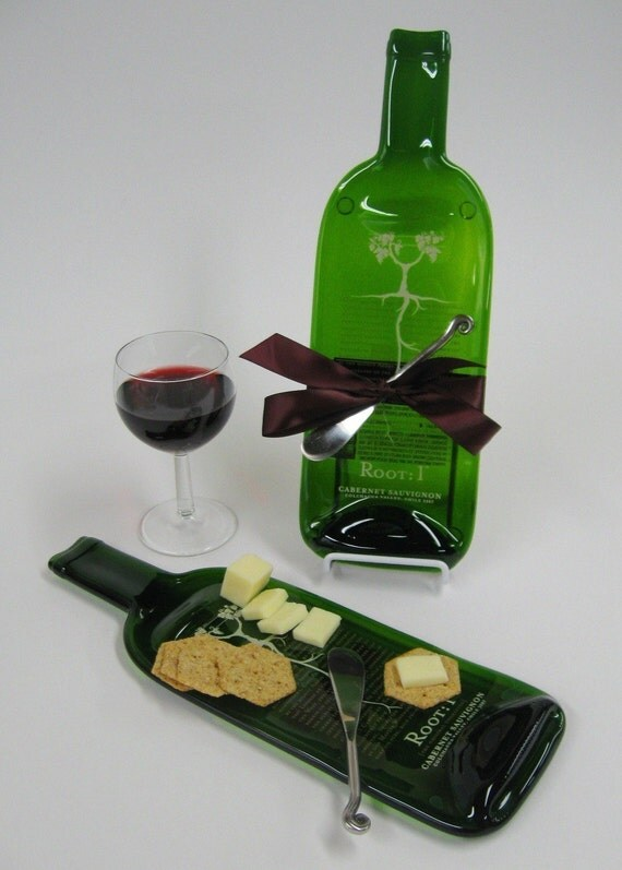 melted wine bottle cheese tray root 1 by mitchellglassworks
