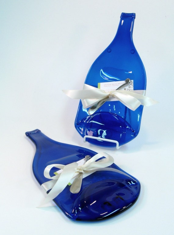 Cobalt Blue Melted Bottle Cheese Platter Large Size - Upcyled / Recycled Glass by Mitchell Glassworks