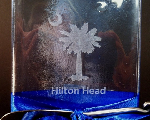 Melted Wine Bottle Cheese Tray with Hilton Head Laser Etched Blue/ Clear Glass - Eco Friendly Hostess Gift
