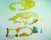 print of gestural kitten