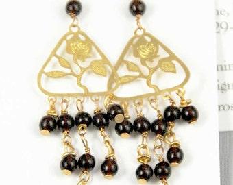 gold tirangle rose and garnet earrings
