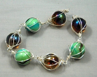 Topaz and green silver caged marble bracelet