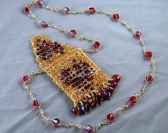 Topaz red heart amulet bag