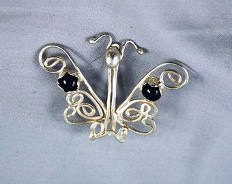 Sterling silver garnet filigree butterfly brooch