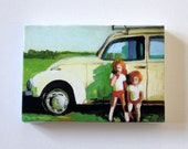 Infront of the sun / Tiny canvas print -car -children -memory -retro - summer -grass -sky -CANVAS ART PRINT -wall hanging