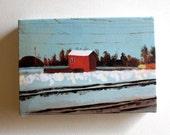 Shed / Tiny canvas print / -Print of Original acrylic painting-Digital print -mounted print - wall hanging