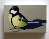 Gray bird / Tiny canvas print
