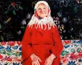 Folk art painting  print/  Spring flowers /  Big paper print - woman portrait- Art Poster Illustraton   size A3 -Digital Prints