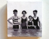 Swimmers / Tiny canvas print / -Print of Original acrylic painting-Digital print -mounted print - wall hanging
