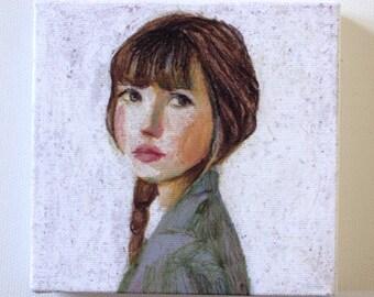 Sarah - Tiny canvas print - Portrait drawing -Print of Original pastel drawing-CANVAS ART PRINT