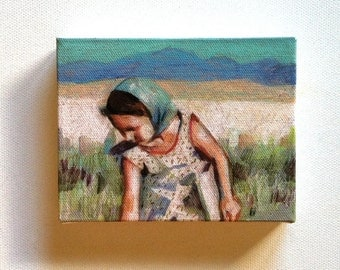 Wheat fields / Tiny canvas print