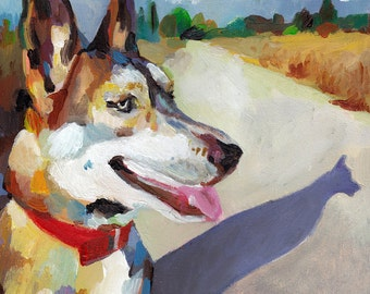Dog and Shadow - Pet Portrait - Original painting-  -Animal Painting - portrait- dog painting
