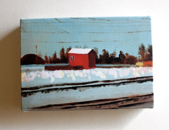 Shed / Tiny canvas print / -Print of Original acrylic painting-Digital print -mounted print - wall hanging