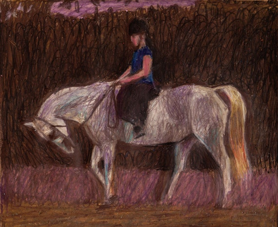 Horse Riding / Original pastel drawing