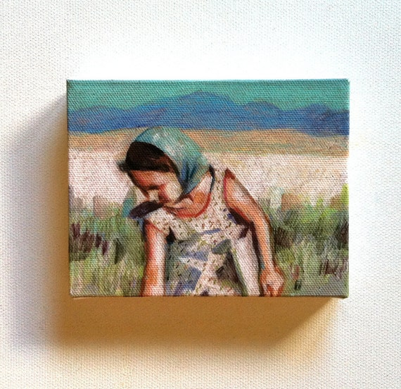 Wheat fields / Tiny canvas print